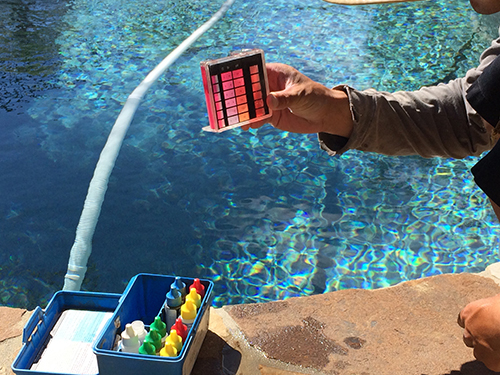 Clearflo Pools tests and maintains water chemistry.